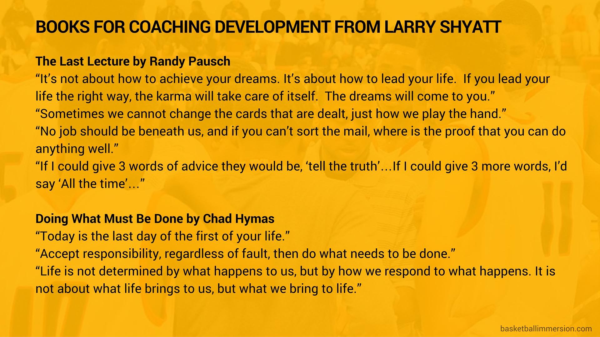 Larry Shyatt's Book Recommendations